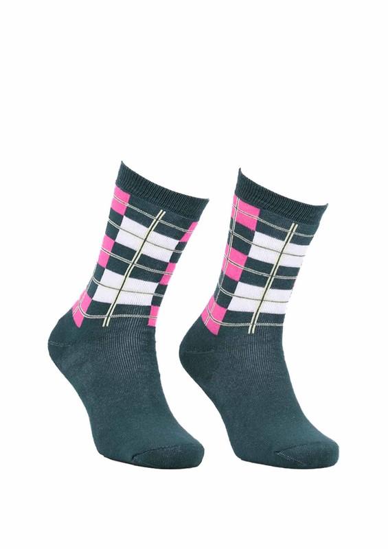 Modemo - Kareli Havlu Çorap 2050   Yeşil