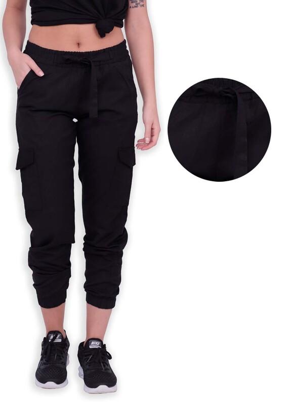SİMİSSO - Kargo Cepli Beli Lastikli Kadın Pantolon | Siyah