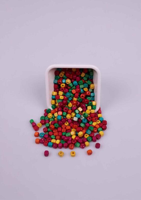 SİMİSSO - Karışık Renkli Küp Tahta Boncuk 50 Gram 6 mm