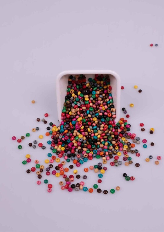SİMİSSO - Karışık Renkli Tahta Boncuk 50 Gram 4 mm