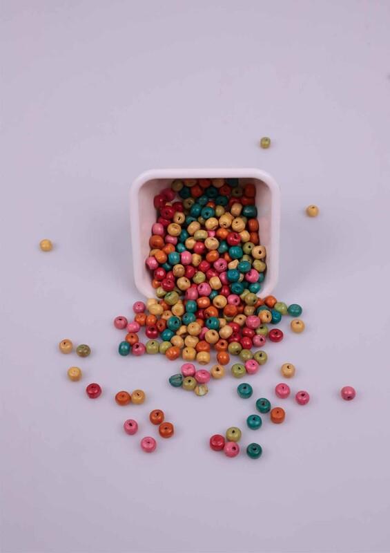 SİMİSSO - Karışık Renkli Tahta Boncuk 50 Gram 6 mm