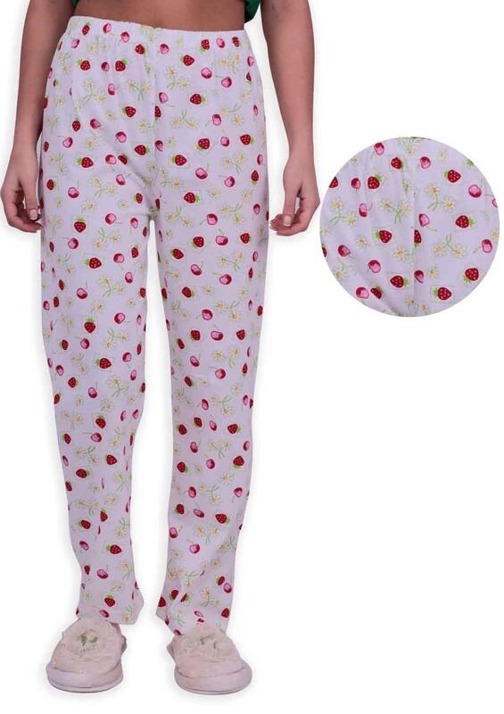 SİMİSSO - Kiraz Baskılı Kadın Pijama Altı 002 | Beyaz