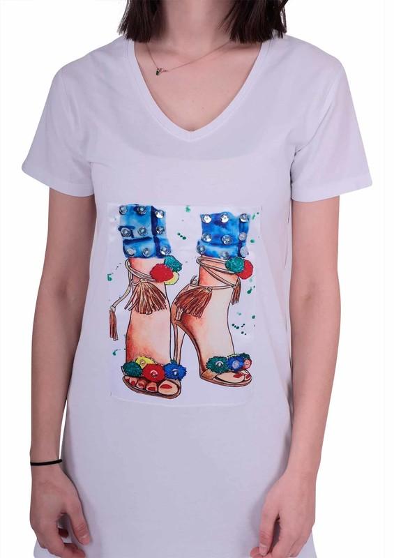 NARSACE - Kısa Kollu Baskılı Taşlı Uzun T-Shirt 202 | Beyaz