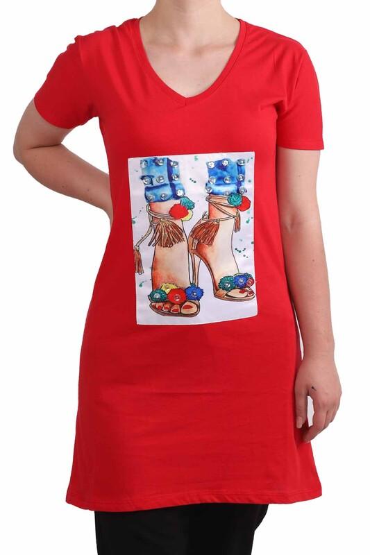 NARSACE - Narsace Baskılı Taşlı Uzun T-shirt 202   Kırmızı