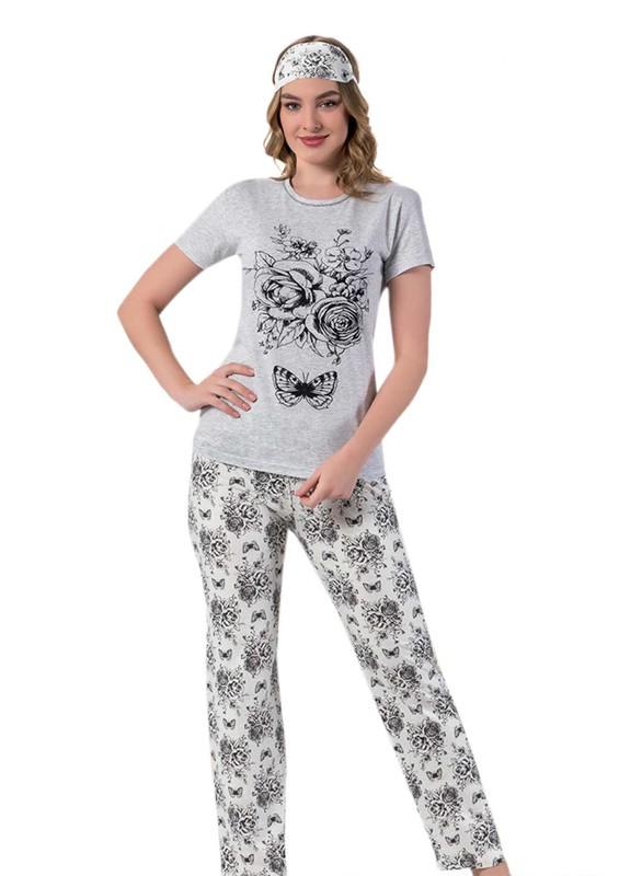LILA - Kısa Kollu Güllü Uyku Gözlüklü Pijama Takımı 2034 | Gri