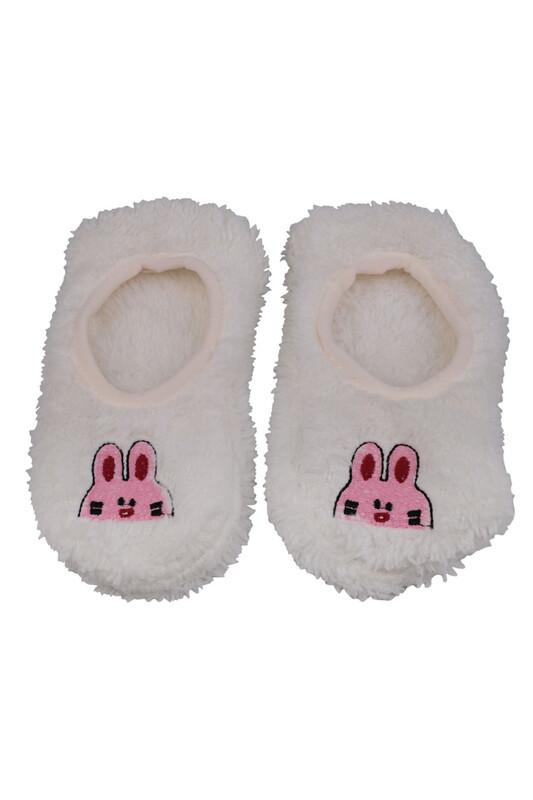 SAHAB - Tavşan Nakışlı Welsoft Çocuk Patik Çorap 22666 | Krem