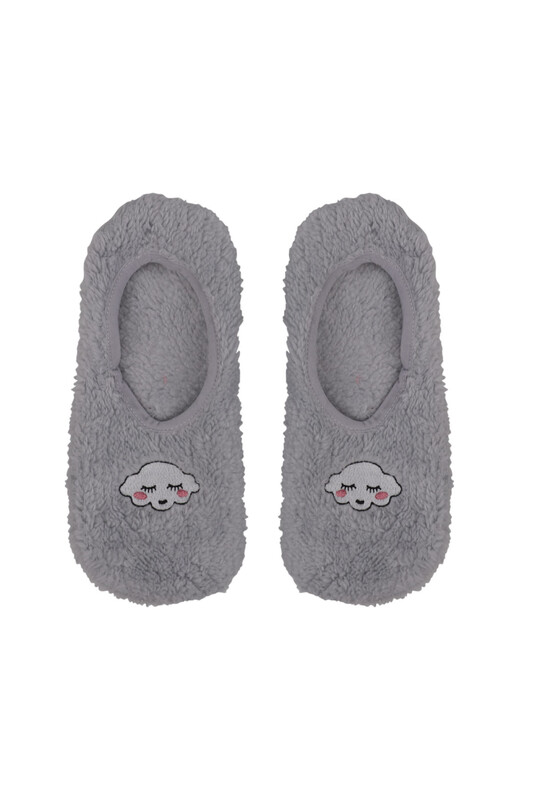SAHAB - Bulut Nakışlı Welsoft Çocuk Patik Çorap 22666 | Gri