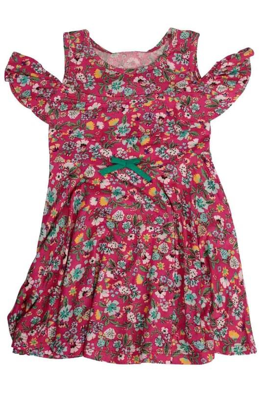 SİMİSSO - Omzu Açık Çiçek Baskılı Kız Çocuk Elbisesi | Fuşya