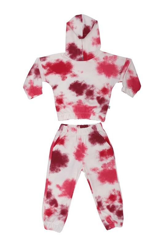 Damla - Desenli Kız Çocuk Eşofman Takım 20655 | Kırmızı