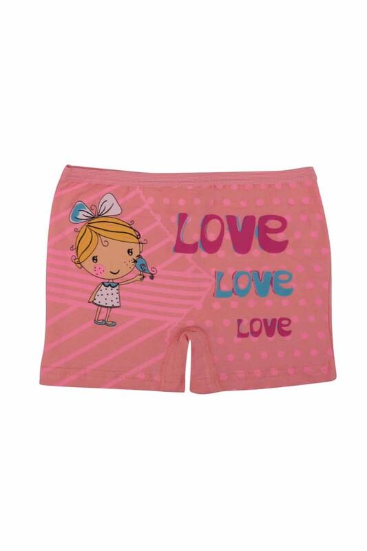 Ören Yıldız - Love Yazı Baskılı Likraklı Kız Çocuk Boxer 5023 | Yavruağzı
