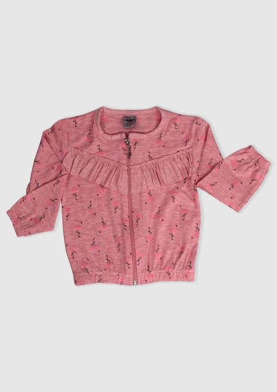SİMİSSO - Flamingo Baskılı Kız Çocuk Hırka | Somon