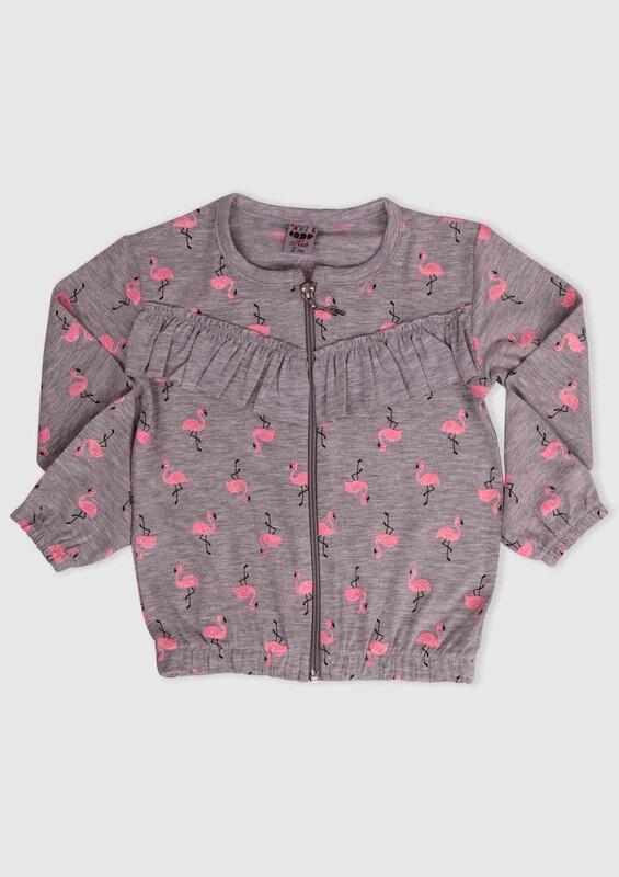 SİMİSSO - Flamingo Baskılı Kız Çocuk Hırka | Gri