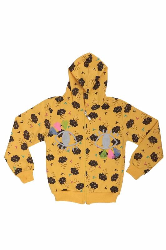 SİMİSSO - Bulut Desenli Kız Çocuk Hırka 6010 | Sarı