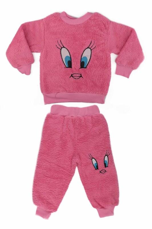 SİMİSSO - Kız Çocuk Pelüş Pijama Takımı | Pembe