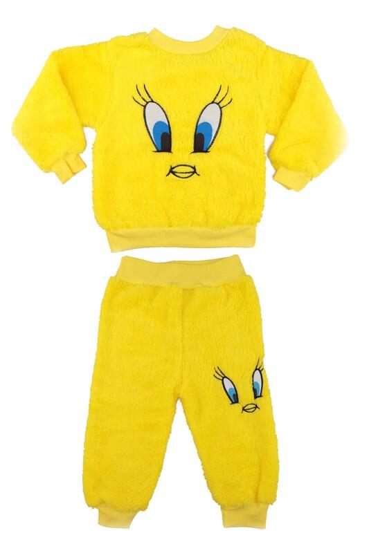 SİMİSSO - Kız Çocuk Pelüş Pijama Takımı | Sarı