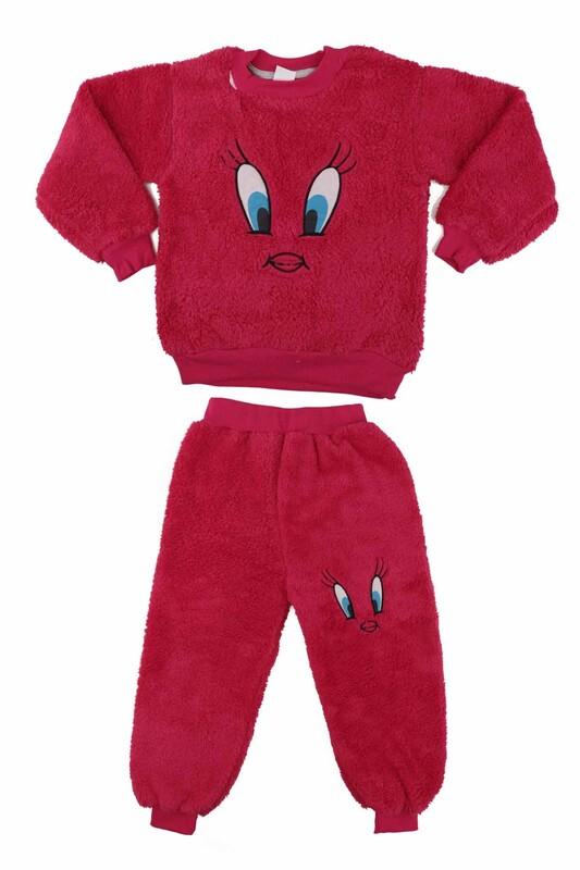SİMİSSO - Kız Çocuk Pelüş Pijama Takımı | Fuşya