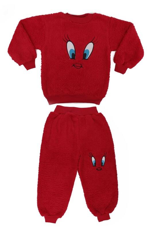 SİMİSSO - Kız Çocuk Pelüş Pijama Takımı | Kırmızı