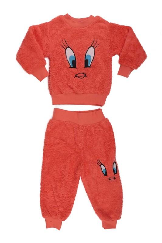 SİMİSSO - Kız Çocuk Pelüş Pijama Takımı | Turuncu