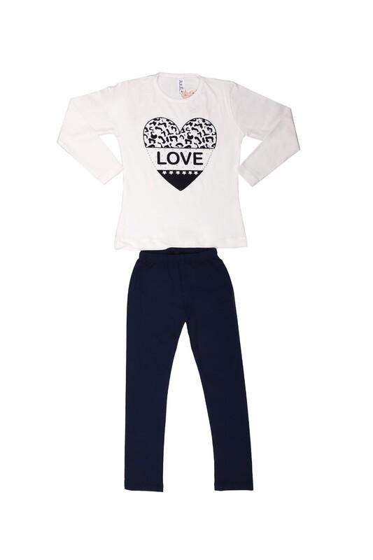 Juuta - Juuta Kalp Baskılı Taytlı Çocuk Takım | Beyaz