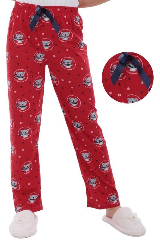 RİNDA - Koala Desenli Kadın Pijama Altı 1411 | Kırmızı