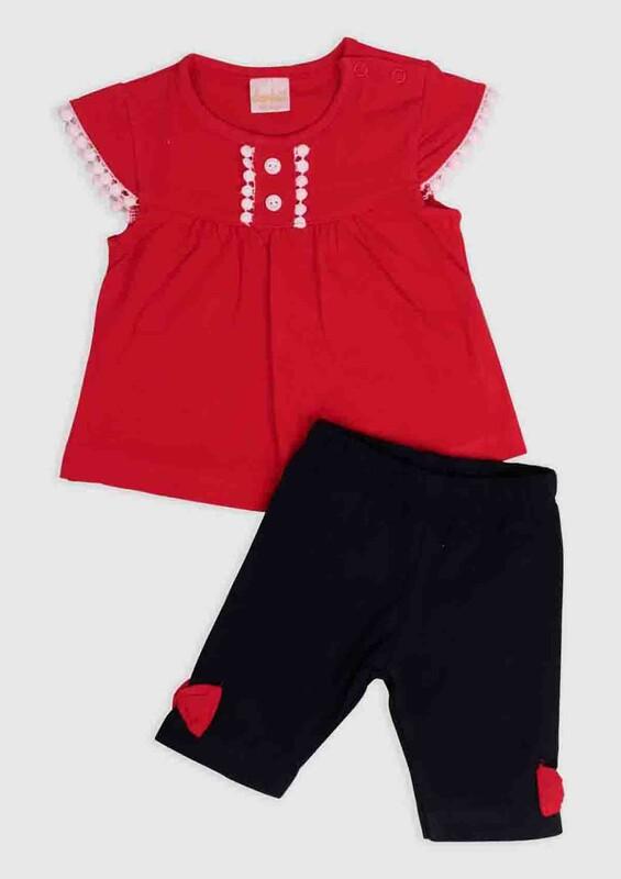 SİMİSSO - Kolları Güpürlü 2'li Bebek Takımı | Kırmızı