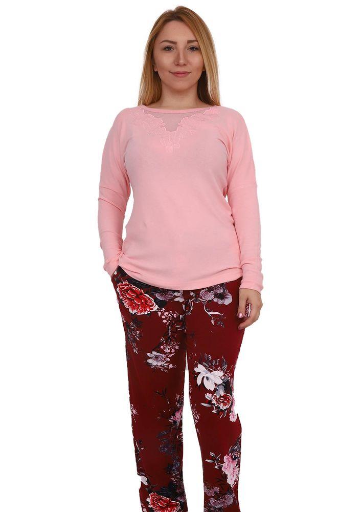 Комплект пижамы Senfoni 1471 с принтом/пудровый