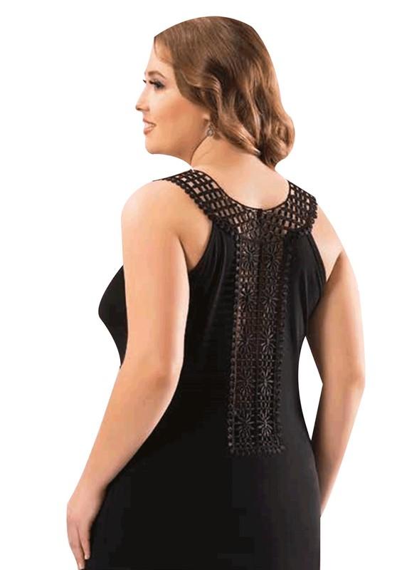 KOTA - Kota Güpür Yakalı Sırtı Transparan Güpürlü T-Shirt 6199 | Siyah