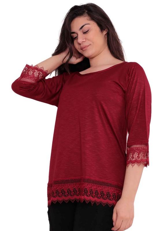 KOTA - Kota Kolları ve Altı Dantel İşlemeli Bluz 6189 | Bordo