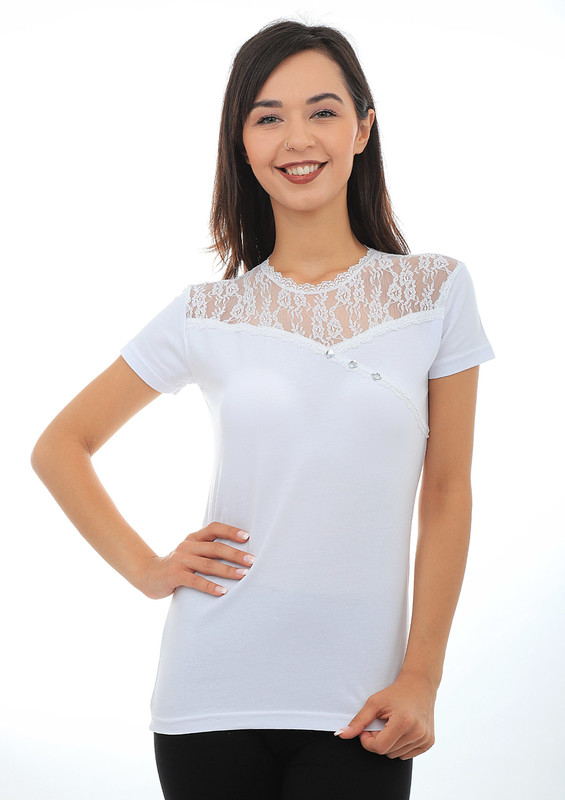KOTA - Kota Yakası Transparan Dantelli T-shirt 6031 | Beyaz