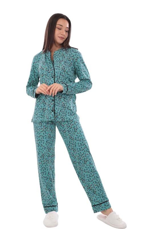 KOZA - Koza Desenli Bayan Pijama Takımı 70547 | Turkuaz