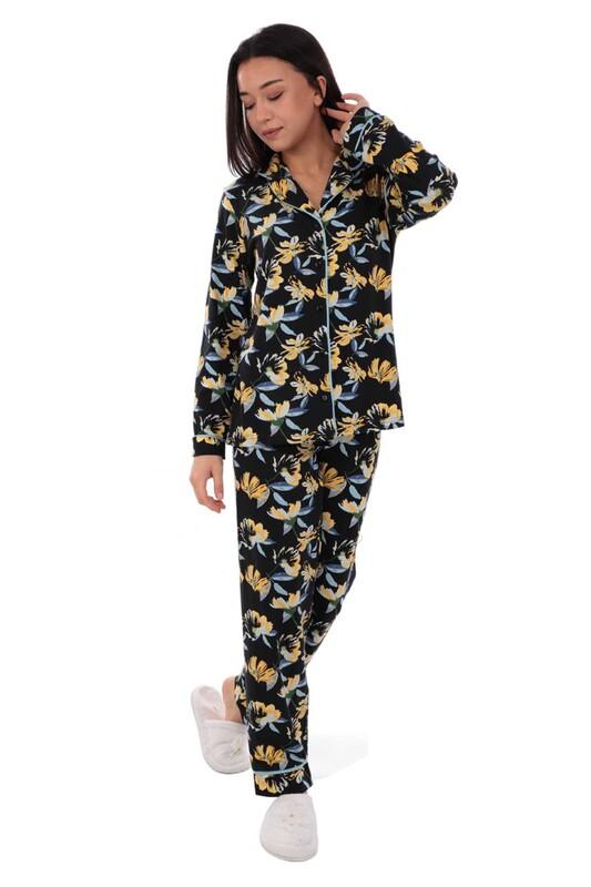 KOZA - Koza Desenli Kadın Pijama Takımı 70548 | Lacivert