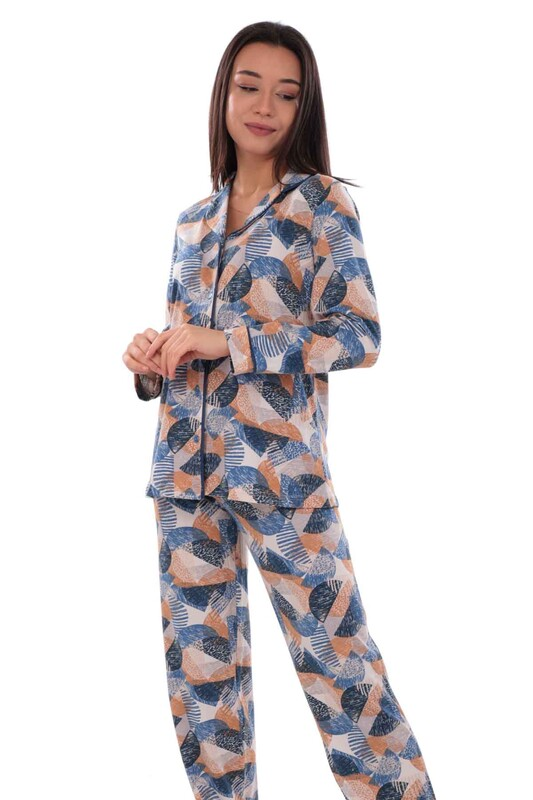 KOZA - Koza Desenli Kadın Pijama Takımı 70556 | Mavi