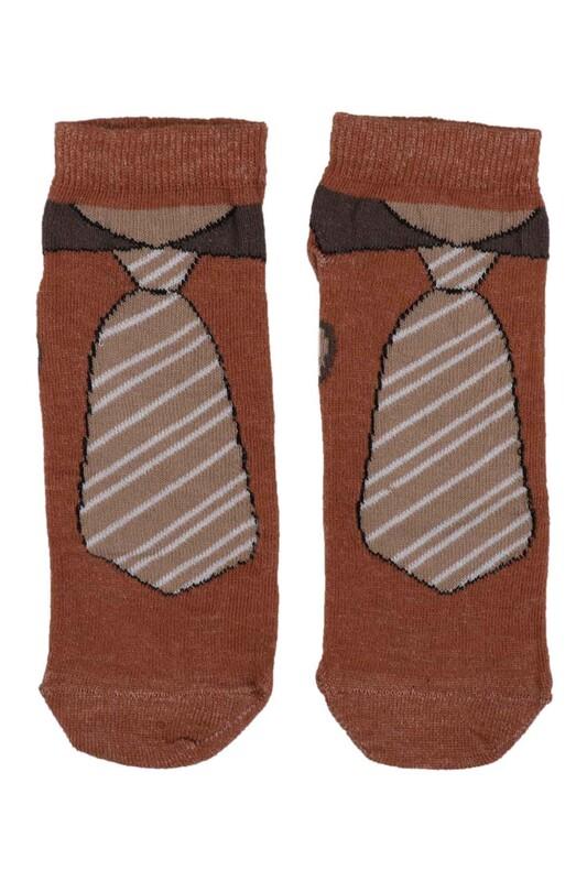SİMİSSO - Kravat Desenli Erkek Çocuk Çorap | Hardal