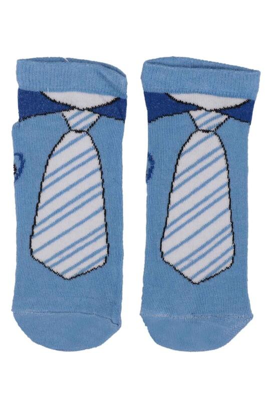 SİMİSSO - Kravat Desenli Erkek Çocuk Çorap | Mavi