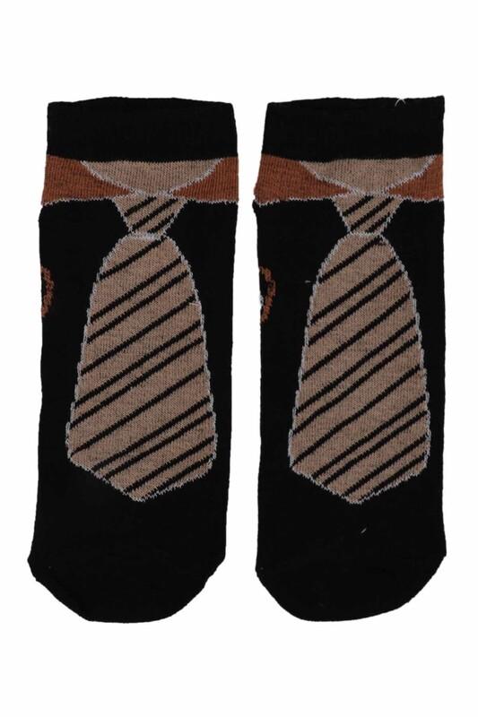 SİMİSSO - Kravat Desenli Erkek Çocuk Çorap | Siyah
