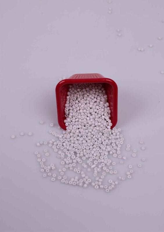 SİMİSSO - Küçük Cam Boncuk 50 Gram 3 mm | Kırık Beyaz