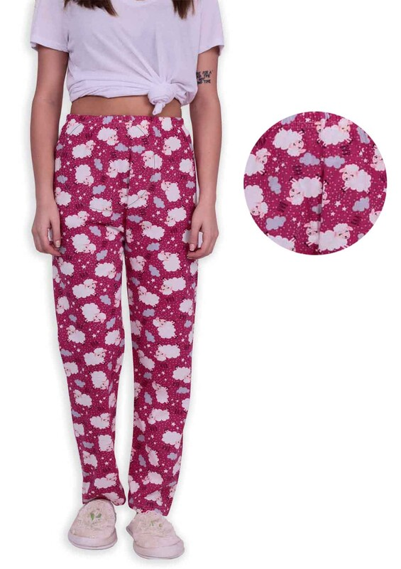 SİMİSSO - Kuzu Desenli Kadın Pijama Altı | Fuşya