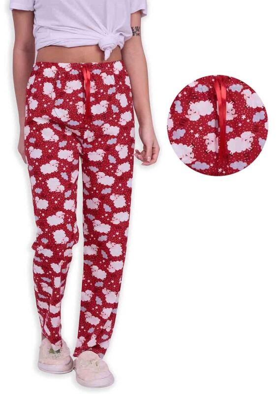 SİMİSSO - Kuzu Desenli Kadın Pijama Altı | Kırmızı