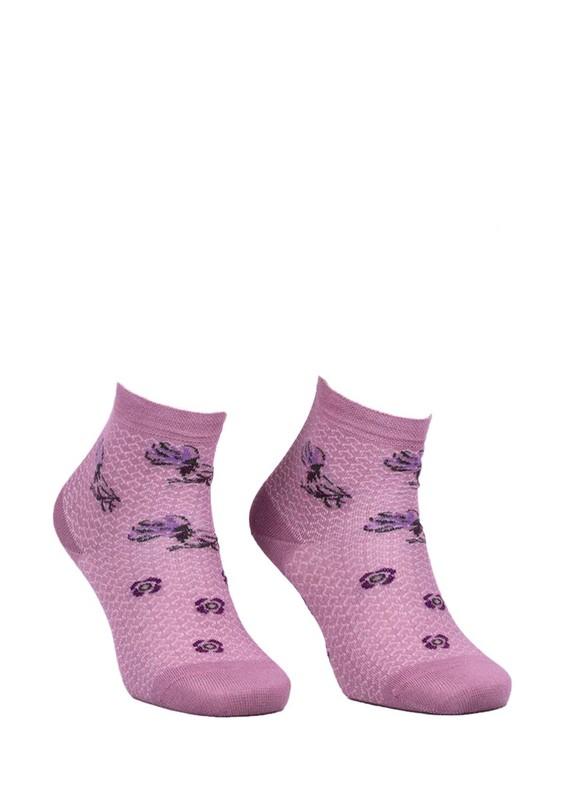 LA MORİA - La Moria Desenli Dikişsiz Çorap 82422-3 | Mürdüm