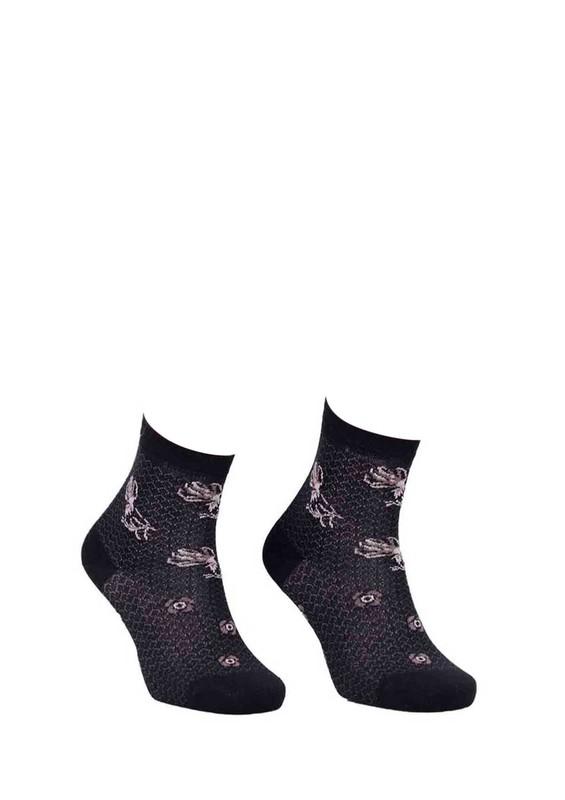 LA MORİA - La Moria Desenli Dikişsiz Çorap 82422-3 | Siyah