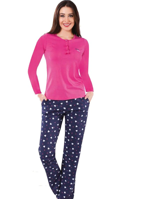 LADY SHINE - Lady Shine Kalp Desenli Düğme Detaylı Pijama Takımı 297 | Pembe