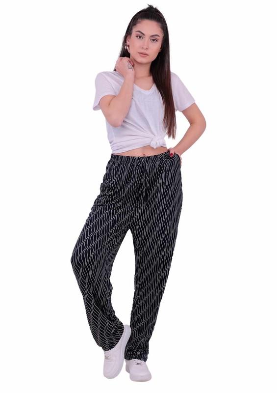 DOĞAN - Lastikli Geniş Paçalı Çizgili Pantolon | Lacivert