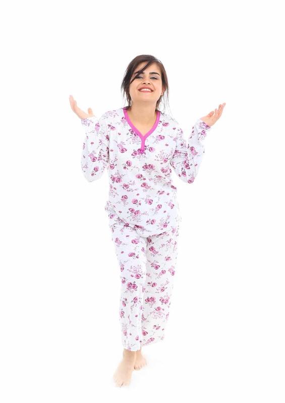 LİNDROS - Lindros Boru Paçalı Gül Desenli Pijama Takımı 8078 | Mor