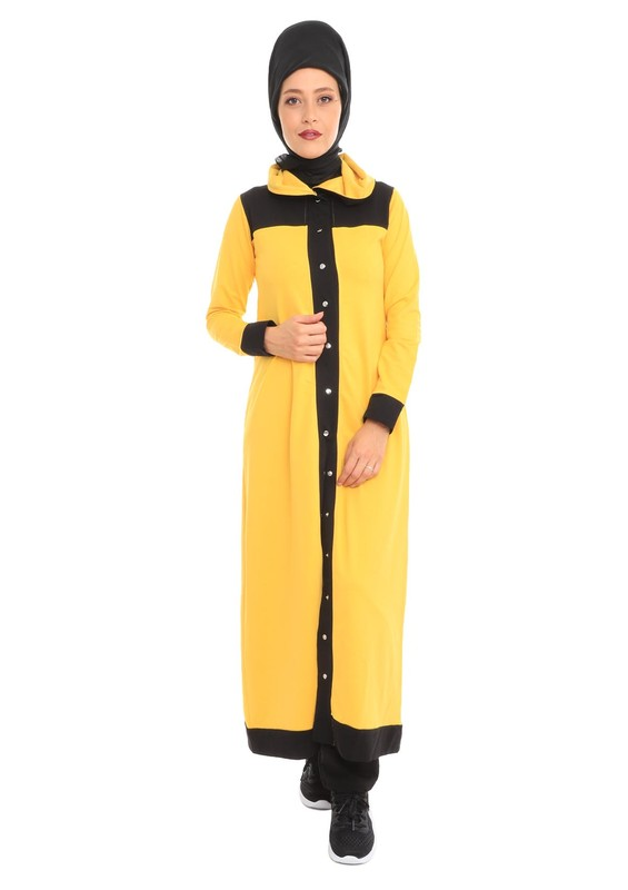 LOLITAM - Lolitam Düğmeli Sarı-Siyah Tesettür Eşofman Takımı 10900 | Sarı
