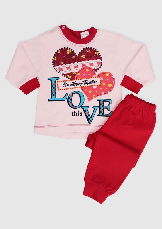 BİLKON - Love Baskılı Bebek 2'li Takım 002 | Kırmızı