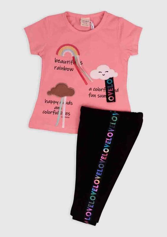Luminoso - Luminoso Gökkuşağı Baskılı 2'li Bebek Takım | Pembe