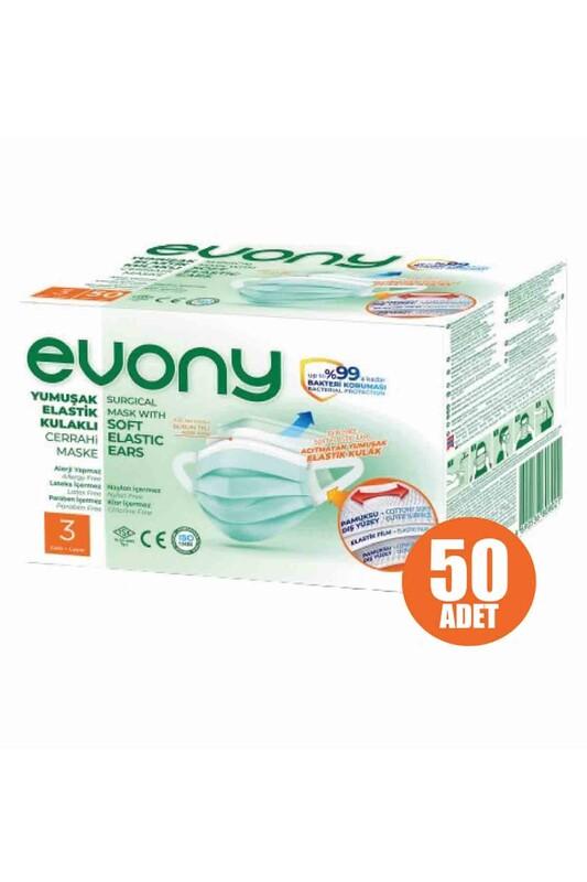 EVONY - Evony 3 Katlı Filtreli Burun Telli Maske 50 Adet