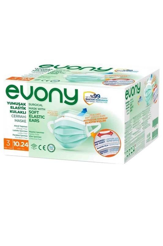 EVONY - Evony 3 Katlı Filtreli Burun Telli Maske 240 Adet