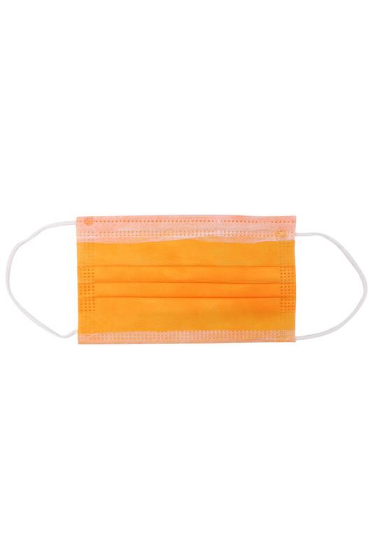 SİMİSSO - Telli 3 Katlı Renkli Maske 10 Adet   Turuncu