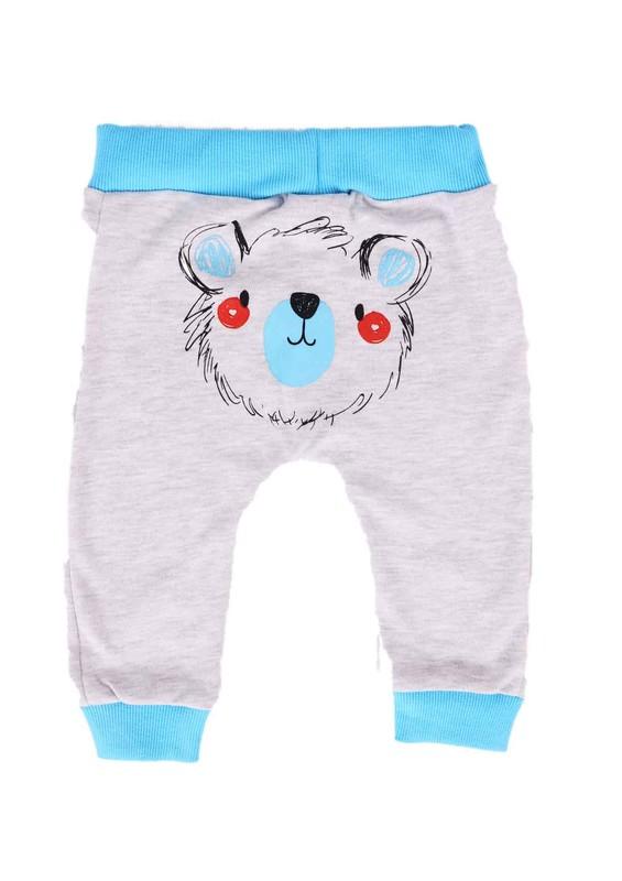 MİNİŞ - Miniş Bebek Pantolonu 1016   Turkuaz Gri